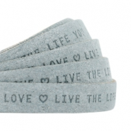 "Flat 10mm DQ leather with ""live the life you love"" print Grey"