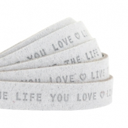 "Flat 10mm DQ leather with ""live the life you love"" print Light Grey"