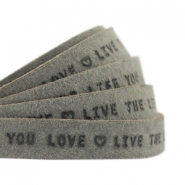 "Flat 10mm DQ leather with ""live the life you love"" print Dark olive green"