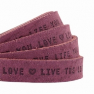 "Flat 10mm DQ leather with ""live the life you love"" print Light aubergine red"