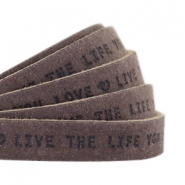 "Flat 10mm DQ leather with ""live the life you love"" print Dark vintage brown"