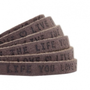 "Flat 5mm DQ leather with ""live the life you love"" print Dark vintage brown"