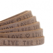 "Flat 5mm DQ leather with ""live the life you love"" print Chocolate brown"