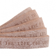 "Flat 10mm DQ leather with ""live the life you love"" print Smoke cognac brown"