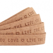 "Flat 10mm DQ leather with ""live the life you love"" print Light cognac brown"