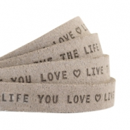 "Flat 10mm DQ leather with ""live the life you love"" print Vintage brown"
