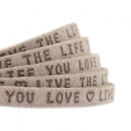 "Flat 5mm DQ leather with ""live the life you love"" print Vintage brown"
