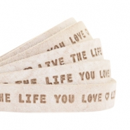 "Flat 10mm DQ leather with ""live the life you love"" print Country Grey"