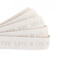 "Flat 10mm DQ leather with ""live the life you love"" print Off White"