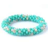 Top faceted bracelets Turquoise green-white (opal/diamond)