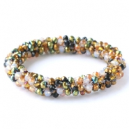 Top faceted bracelets Green-white-copper mixed colours (metallic/opal/diamond)