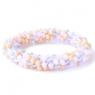 Top faceted bracelets Rose alabaster-lavender-beige mixed colours (opaque/opal/diamond)