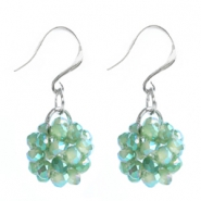 Trendy earrings made of fancy faceted beads Lagoon green-diamond coating