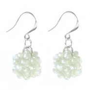 Trendy earrings made of fancy faceted beads Light grey opal-pearl diamond coating