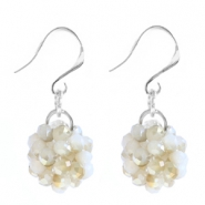 Trendy earrings made of fancy faceted beads White alabaster-gold diamond coating