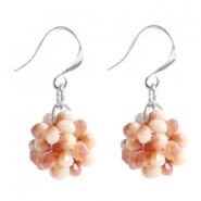 Trendy earrings made of fancy faceted beads Birch beige-half rose gold diamond coating