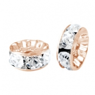 Rhinestone crystal rondelle 10mm Rose gold-crystal