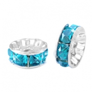 Rhinestone crystal rondelle 8mm Silver-turquoise