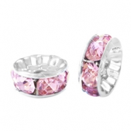 Rhinestone crystal rondelle 10mm Silver-pink