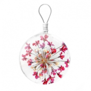 Charms with dried flowers 20mm Dark pink