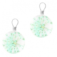 Charms with dried flowers 12mm Light azore green
