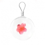 Charms with dried flowers 20mm Rose red
