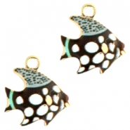 Basic Quality metal charms fish Gold black-white