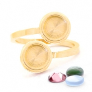Stainless steel rings for 7mm Cabochon / Swarovski SS34  Gold
