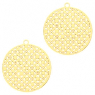 Round bohemian pendants with eye 22mm Gold