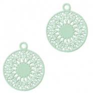 Round bohemian pendants with eye 18mm Pastel turquoise green