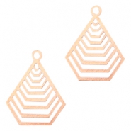 Geografical shaped Bohemian Pendants with eye 20mm Rose gold