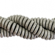 DQ Greek ceramic beads disc 8mm Stonewash graphite grey