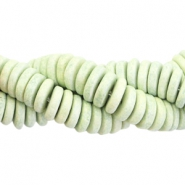 DQ Greek ceramic beads disc 6mm Stonewash soft green