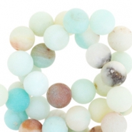 Round semi-precious stones 6mm Amazonite matt Turquoise multicolour