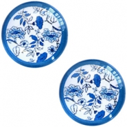 Basic Delft blue cabochon 12mm flowers White-blue