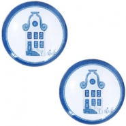 Basic Delft blue cabochon 12mm house White-blue