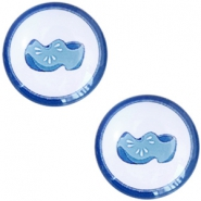 Basic Delft blue cabochon 12mm wooden shoes White-blue