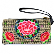 Trendy Boho Ibiza wallet Black gold-rose-green