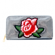 Trendy wallets with riose patches Metallic grey