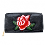 Trendy wallets with rose patches Metallic black