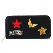 Trendy wallets with army patches Black