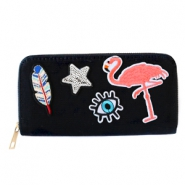 Trendy wallets with flamingo patches Black
