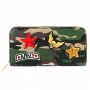 Trendy wallets with army patches Green-brown
