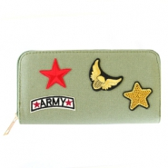 Trendy wallets with army patches Khaki green