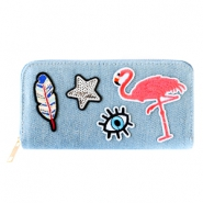Trendy wallets with flamingo patches Denim blue