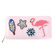 Trendy wallets with flamingo patches Light rose