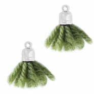 Ibiza style tassels with end cap Silver-olive green