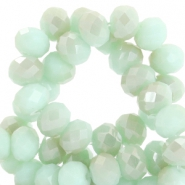 Top faceted beads 4x3mm disc Velvet mint green-half champagne half pearl shine coating