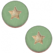 Basic wooden cabochon 20mm star Pine green