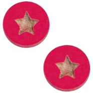 Basic wooden cabochon 20mm star Dark fuchsia